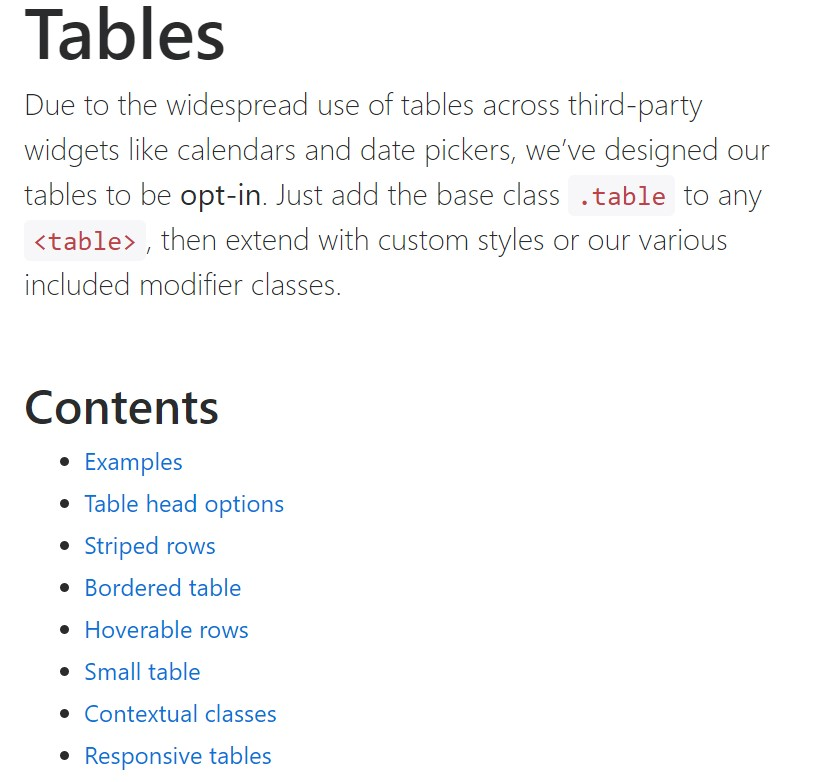 Bootstrap tables official documentation