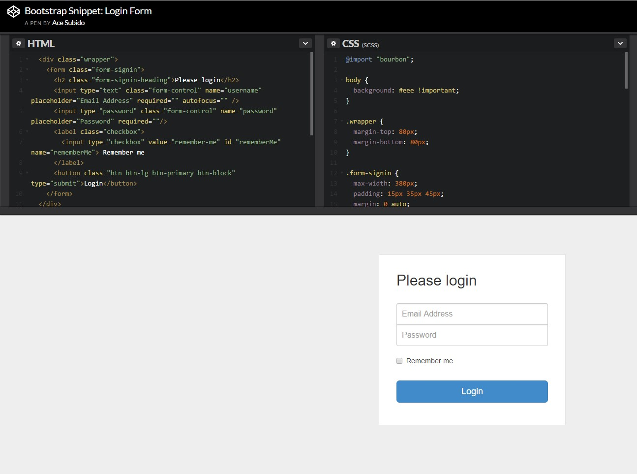 One more  representation of Bootstrap Login Form