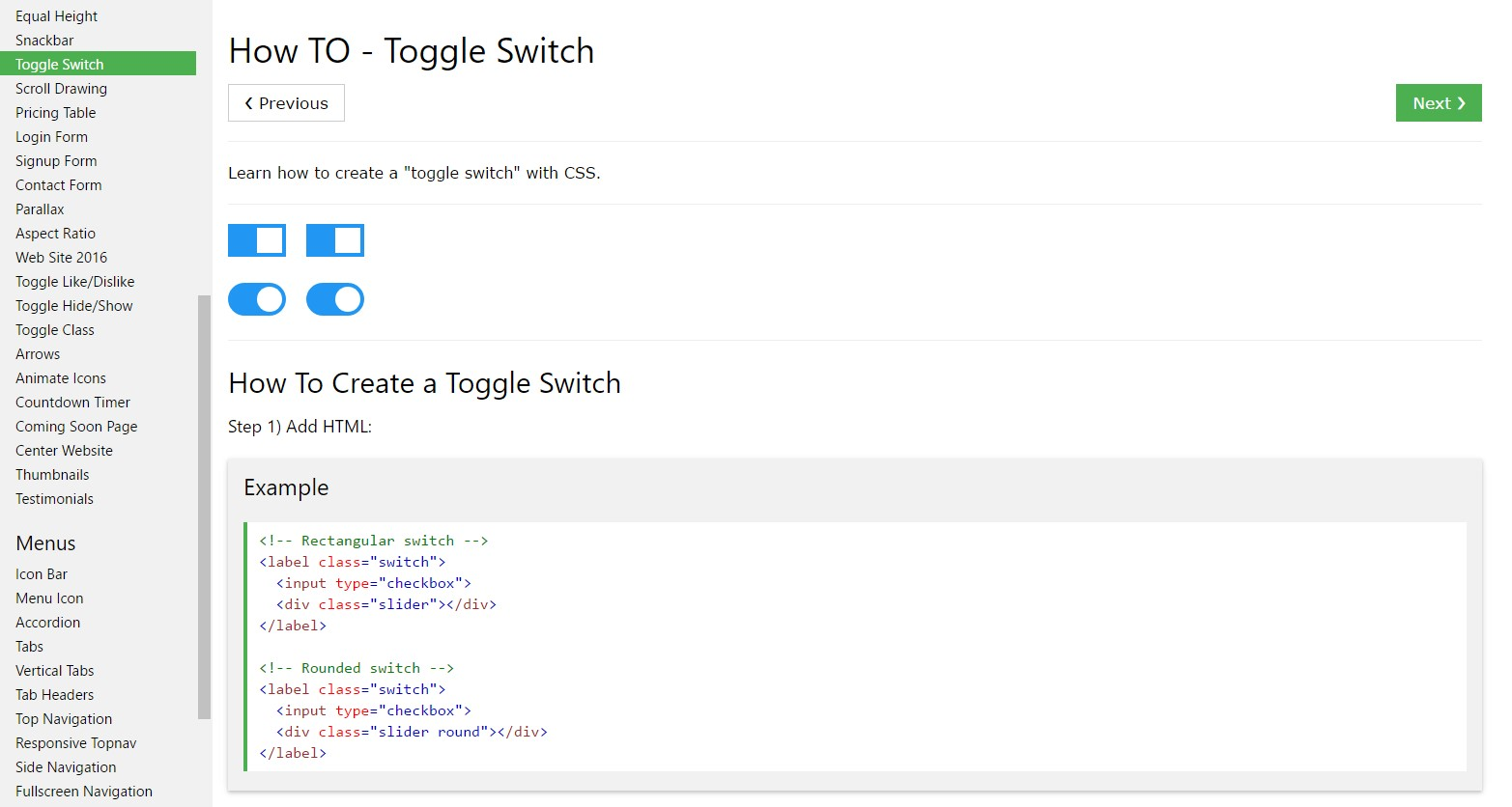 The ways to  establish Toggle Switch